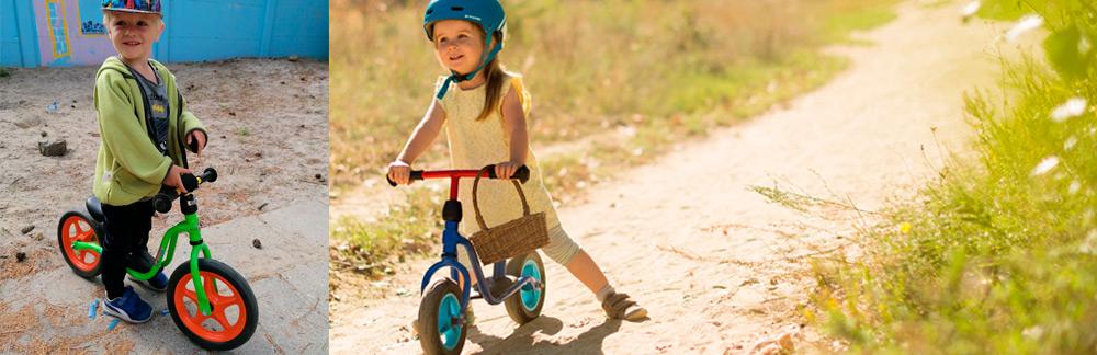 Billede af 2 børn på løbecykel